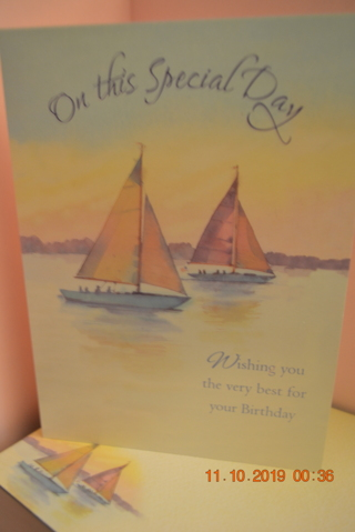 ****TWO SAILBOATS BIRTHDAY CARD W/MATCHING ENVELOPE***FREE SHIPPING