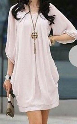 NWT Pink Chiffon Mini Dress - Large