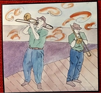 "TROMBONISTS ON BOARDWALK - 5 x 7"" art card by artist Nina Struthers - GIN ONLY"