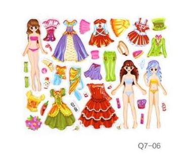 Mini 3D stereo Cute Dress up girl changing clothes princess Stickers