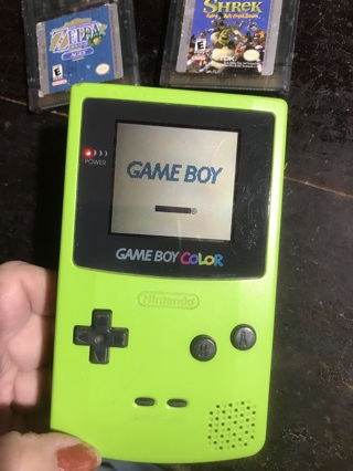 Qty of 1 Vintage Nintendo Game Boy Color Bright Green With Shrek and Zelda Oracle of Ages
