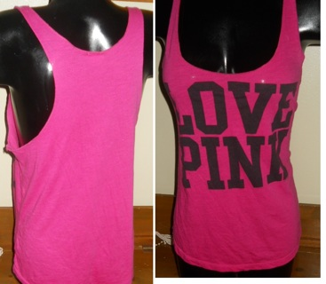 945e7d2370c5d Free: Cute!VICTORIA SECRET Hot Pink LOVE Razor Back Cami Baggy Tank ...