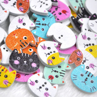 [GIN FOR FREE SHIPPING] 50Pc Mix 2 Holes Cat Animal Wood Buttons Sewing