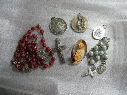 Mix Lot Religious Pins, Beads, More