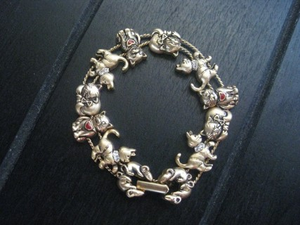 Free Vintage Avon Cat Bracelet In Antique Gold Tone With Crystals And Red Accents