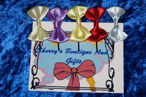 SET OF 5 LITTLE GIRLS HANDMADE SATIN HAIR BOWS GIN GETS 2 SETS