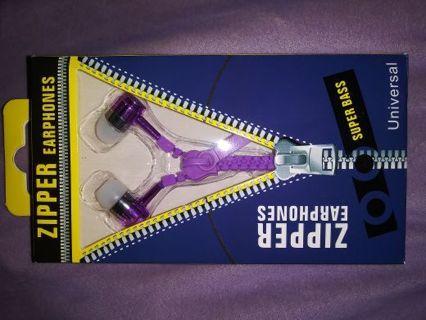 Purple Zipper Headphones Brand New
