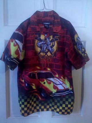 Boys XL 16/18 Awesome Button Down Car Shirt