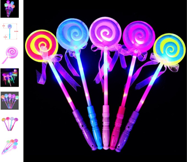 FREE NEW PINK FLASHING LED LIGHT UP MAGIC LOLLIPOP PRINCESS PARTY WAND TOY - NIP