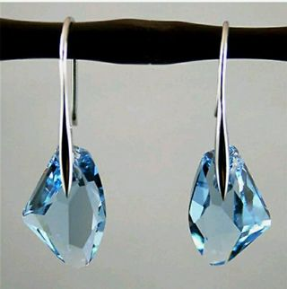 Elegant Women Silver Aqua Blue Crystal Drop Hook Dangle Earrings