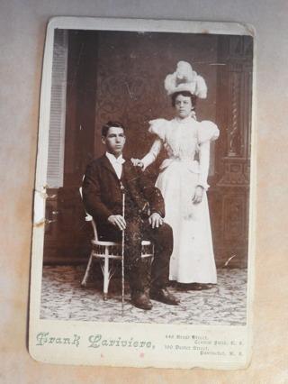 Vintage real photo wedding postcard