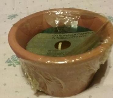 Citronella Candle in a Terracotta Pot New unused
