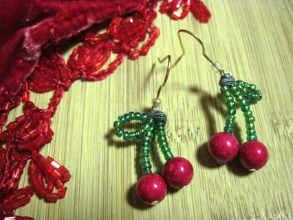 Nice Cherry Earrings, Handmade