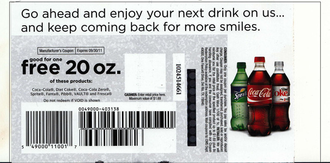 Coupon for a Free 20oz.Coke Product!  FREE Shipping!