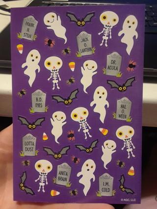 1 sheet of Halloween stickers...ghosts, bats, tombstones, skeletons, spiders, candy corn