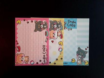 "*Rare* Kamio ""Shiba Coro"" Large Memo Sheets~Bid For 1 Set, GIN For 2 Sets + 1 Sheet ☆Kawaii Bonus☆"