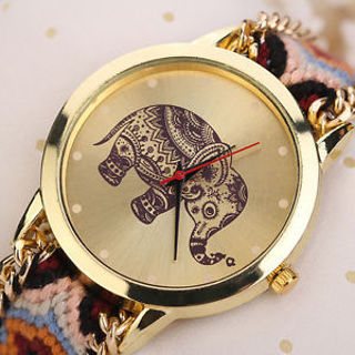 Elephant Girl Pattern Weaved Rope Band Bracelet Quartz Dial Wrist Watches NEW