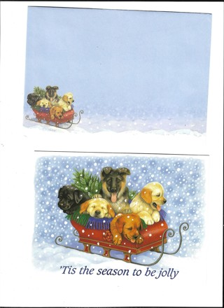 Christms Card Unused With Envelope Dogs