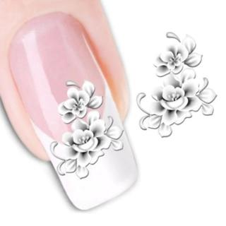 1sheets Fashion White Flower Beauty Polish Items Nail Art Decals French Tips Water Transfer Tattoo