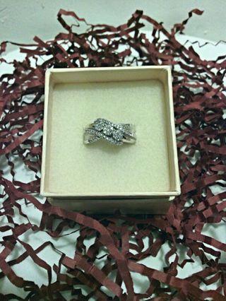 JTV Genuine .33 ctw Round Diamond 925 Sterling Silver Ring Size 7