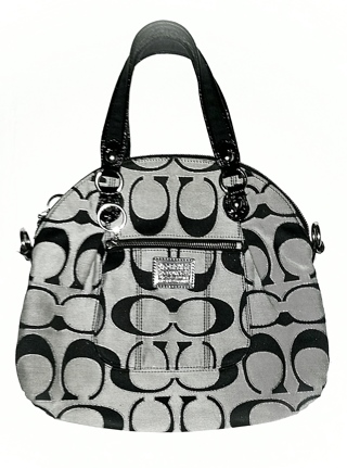 "COACH 18709 - Black Poppy Signature ""C"" Foldover Tote!"
