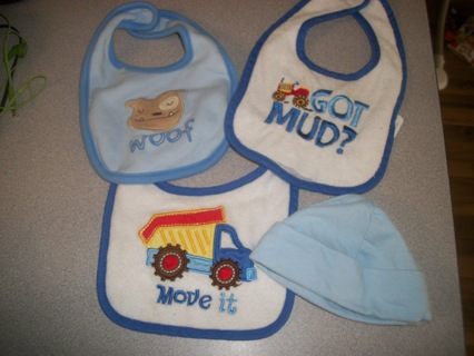 Winner gets 2 truck & 1 puppy BOY bibs and a cute Blue newborn cap! Smoke free home too!