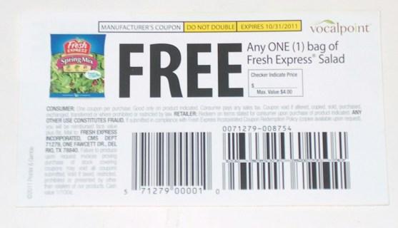 Free bag of Fresh Express Salad