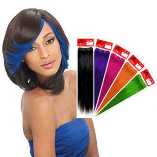 "Sensual 100% Human Hair Hi-Lite Highlight Bang MINI Weave Weaving Extension 8"" pack LIME GREEN ONLY"