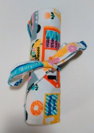 *Multi-Colored Food Truck/Flower Print Baby Receiving Blanket - One of a kind, handmade!