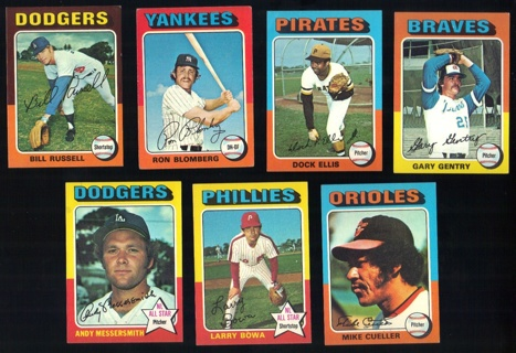 1975 Topps 7 different Cards - Ex-Mt Condition - #s 23, 68, 385, 393, 410, 420, 440