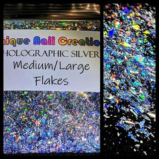 Med/Lg FLAKES✨LAZER HOLO SILVER~Solvent Resistant◾Nail Art•Face•Festi