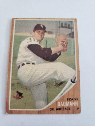 1962 topps Frank Baumann Chicago White Sox vintage baseball card