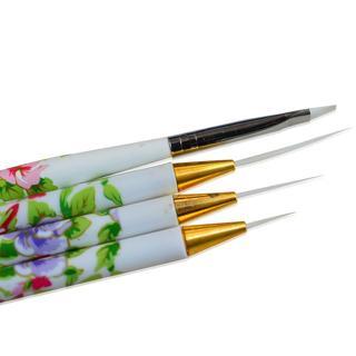 4pcs/lot Nail Art Brush Synthetic Fiber Head Flowers Pattern Handle Drawing Painting Stripe Manic