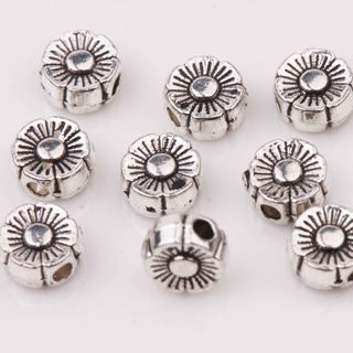 50Pcs Tibetan Silver Big Hole Spacer Beads Jewelry Making Craft 6x3mm