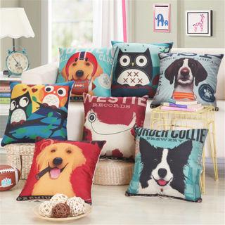 "18"" Square Linen Throw Pillowcase Cartoon Dog Pet Cushion Cover Sofa Home Decor"