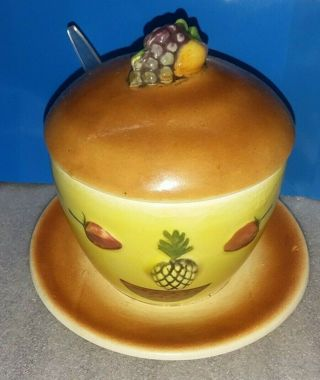 VINTAGE Anthropomorphic 50s Jam/Jelly Jar with Spoon Decor