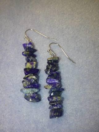 lapis gemstone chip earrings