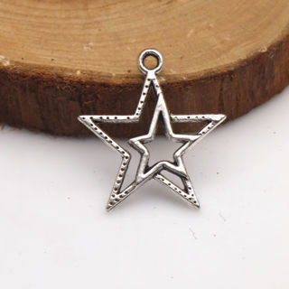 30PCs Alloy Pendant Stars Tibetan Silver Charms Pendants Crafts Jewelry Finding