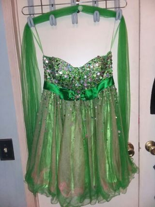 Beautiful womens or juniors size medium green and pink tulle sparkling sequin dress