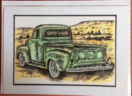 "GREEN FORD TRUCK - 5 x 7"" art card by artist Nina Struthers - GIN ONLY"