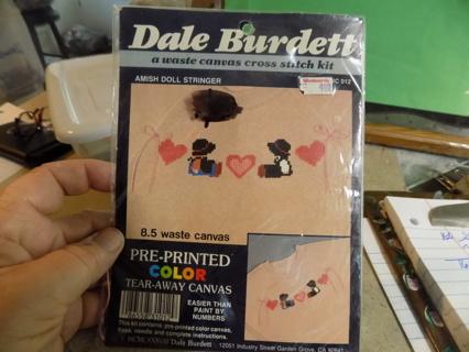 Dale Burdett vintage Amish doll stringer waste canvas cross stitch kit NIP