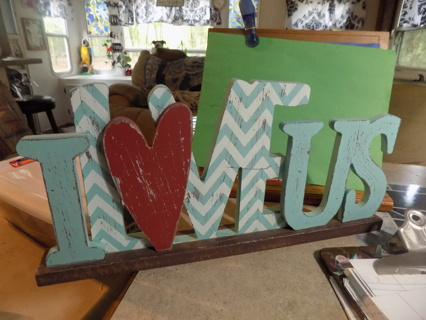 Wooden cut out I love US standing sign