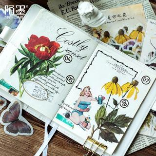 60 Sheets/Pack Mohamm Decorative Vintage Journal Diary Gold Skull Paper Flower Plant Stickers Scra