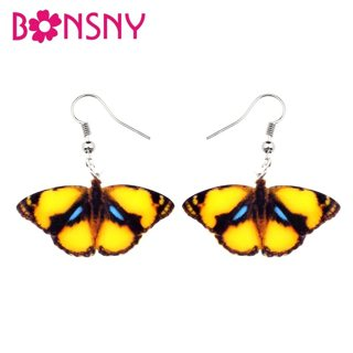 Bonsny Acrylic Unique Yellow Tropic Butterfly Earrings Big Dangle Drop Fashion Summer Insect Jewelry