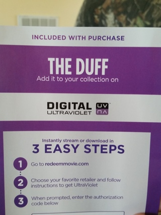 Free: The Duff ultraviolet code - Other DVDs & Movies - Listia com