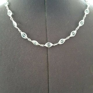 925 sterling silver wire wrapped aquamarine necklace