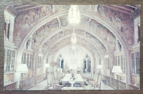HEARST CASTLE, HEARST SAN SIMEON STATE PARK, CALIF. , THE GOTHIC STUDY   1960'S old unused postcard