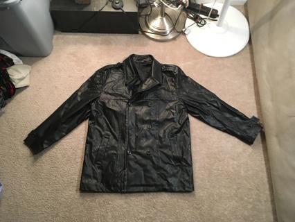 MEN'S Black Coat Jacket Fashion Leather SIZE LARGE