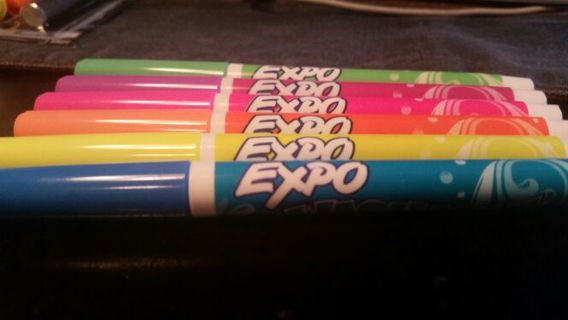 """(6) EXPO """"Washable"""" Dry Erase Markers: NEVER USED-- FREE SHIPPING!!!!"""