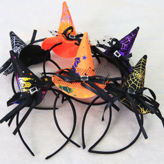 Halloween Party Pointy Witch Hat Hairband Headband Cosplay Fancy Headdress Gifts